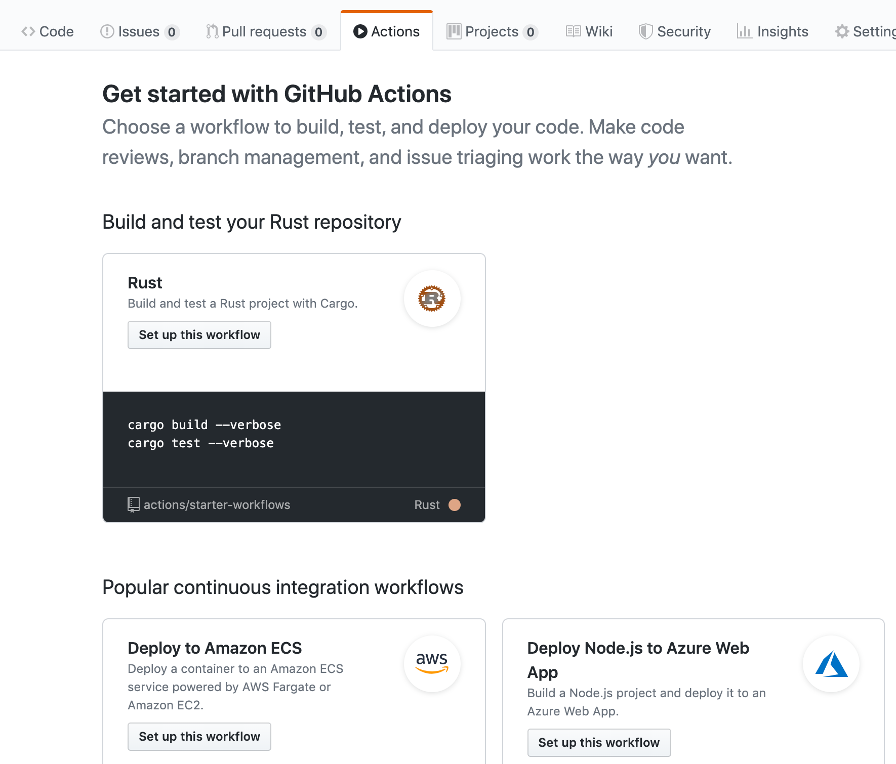 The Rust workflow template in GitHub Actions